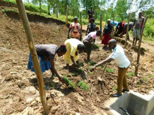 The Water Project:  Community Members Planting Grass