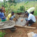 The Water Project: Shihungu Community, Shihungu Spring -  Sanitation Platform Construction