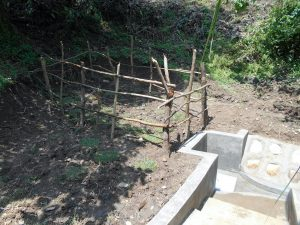 The Water Project:  Fenced Spring With Grass Planted