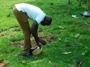 The Water Project:  Field Officer Jonathan Mutai Demonstrates Tippy Tap Construction