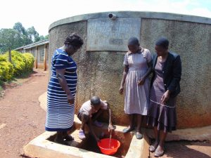 The Water Project:  Students Fetch Water From The Rain Tank