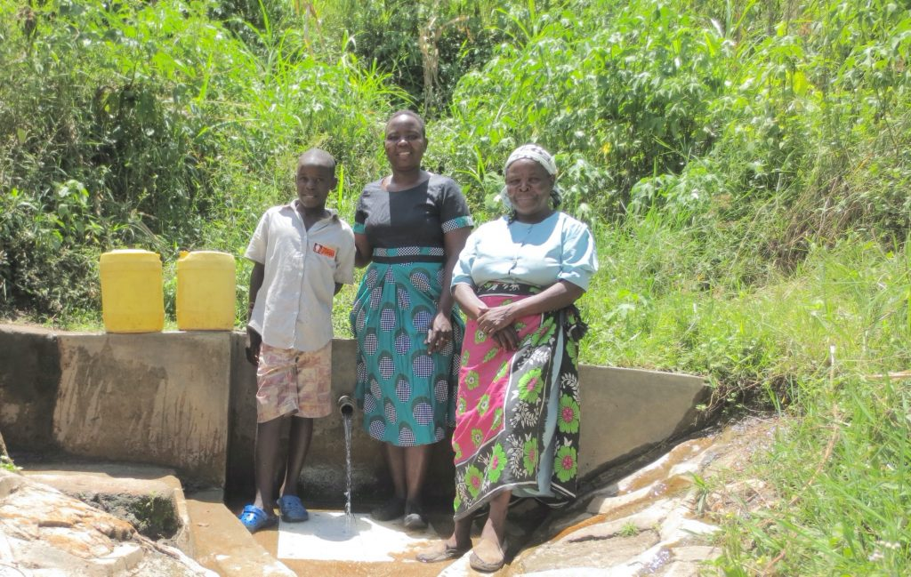 The Water Project : 3-kenya18166-joseph-field-officer-betty-and-violet
