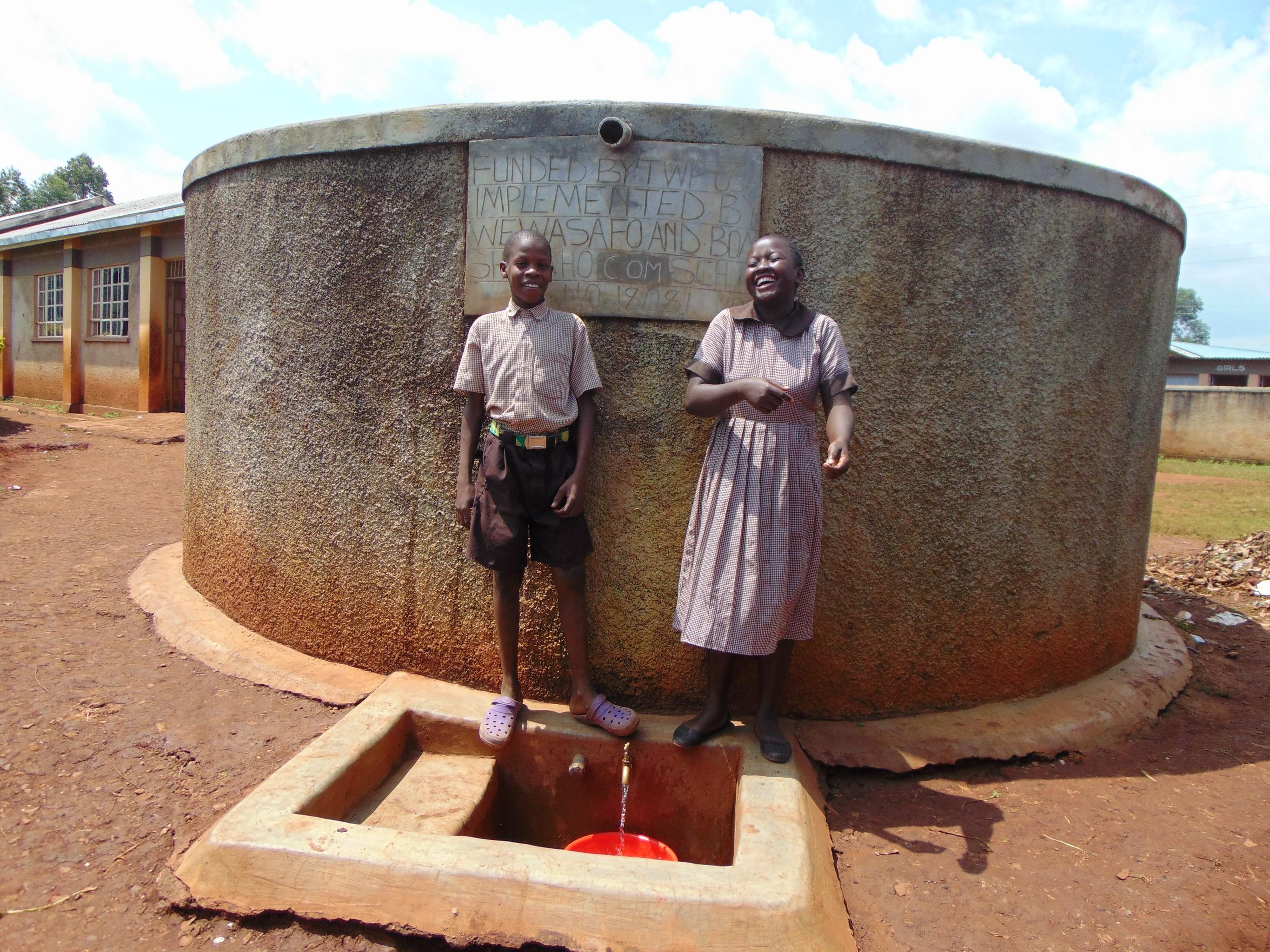 The Water Project : 4-kenya18081-joy-at-the-rain-tank
