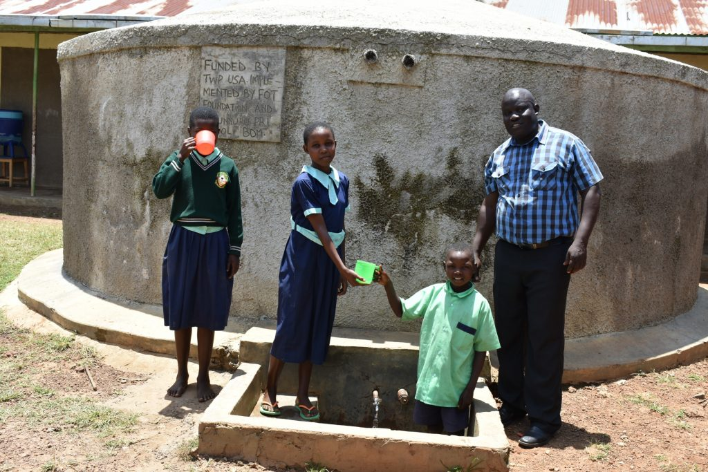 The Water Project : 4-kenya18309-students-and-mr-wesonga-at-the-rain-tank