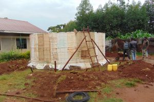 The Water Project:  Rain Tank Walls Going Up