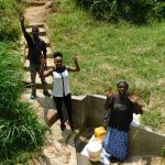 The Water Project: Emachembe Community, Mukabane Spring -  Dennis Georgina And Margaret Celebrate The Spring
