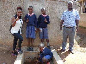 The Water Project:  Field Officer Georgina Kamau With Students And Mr Musalia