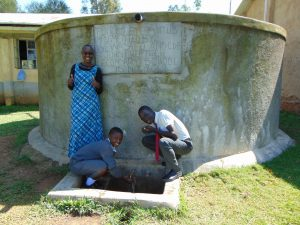 The Water Project:  Field Officer Joan With Students At The Rain Tank