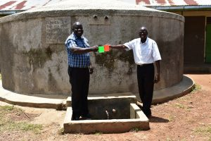 The Water Project:  Head Teacher Mr Wesonga And School Board Chair Enjoying Some Water