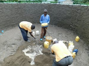The Water Project:  Mixing Cement For Interior Pilars