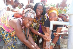 The Water Project:  Councilor Fatmata Akai And Two Community Women Celebrating At The Spring