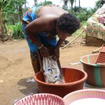 The Water Project: Lungi, Lungi Town, Holy Cross Primary School -  Woman Laundering