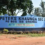 The Water Project: St. Peter's Khaunga Secondary School -  School Sign