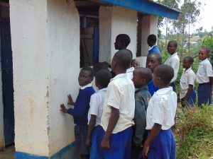 The Water Project:  Boys Line Up To Use Latrines