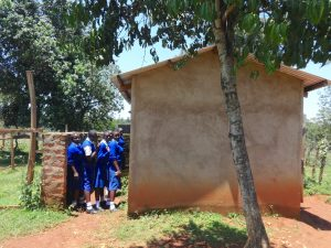 The Water Project:  Students Lined Up Outside Latrines
