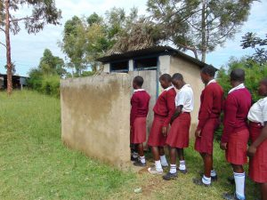 The Water Project:  Girls Queue To Use Latrines