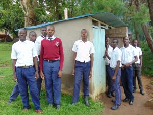 The Water Project:  Boys Outside Pit Latrines