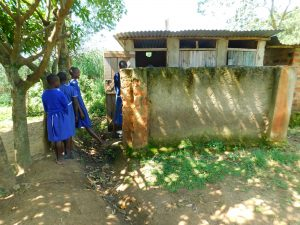 The Water Project:  Girls Line Up To Use Latrines