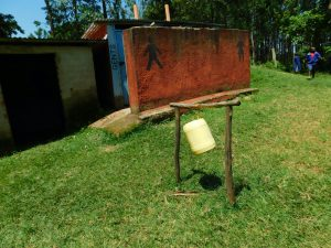 The Water Project:  Boys Latrine Block With Tippy Tap Out Front
