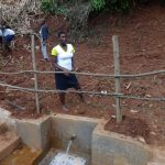 The Water Project: Hirumbi Community, Khalembi Spring -  Clean Water Starts To Flow