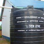 The Water Project: Mutiva Primary School -  Small Plastic Rain Tank