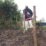 The Water Project: Chegulo Community, Sembeya Spring -  Fencing And Grass Planting Over Backfilling