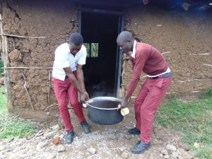 The Water Project:  Students Carrying Tea From Kitchen