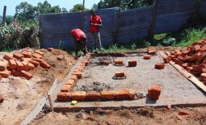 The Water Project:  Brickwork On Latrine Foundation