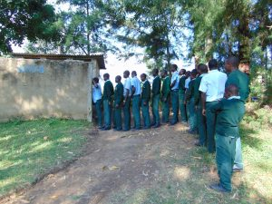 The Water Project:  Boys Queue To Use Latrines