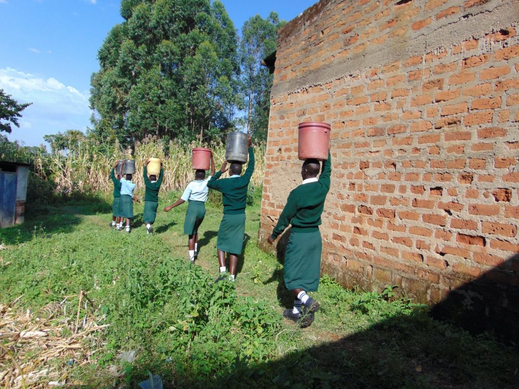 The Water Project : 26-kenya20112-students-carrying-water-5