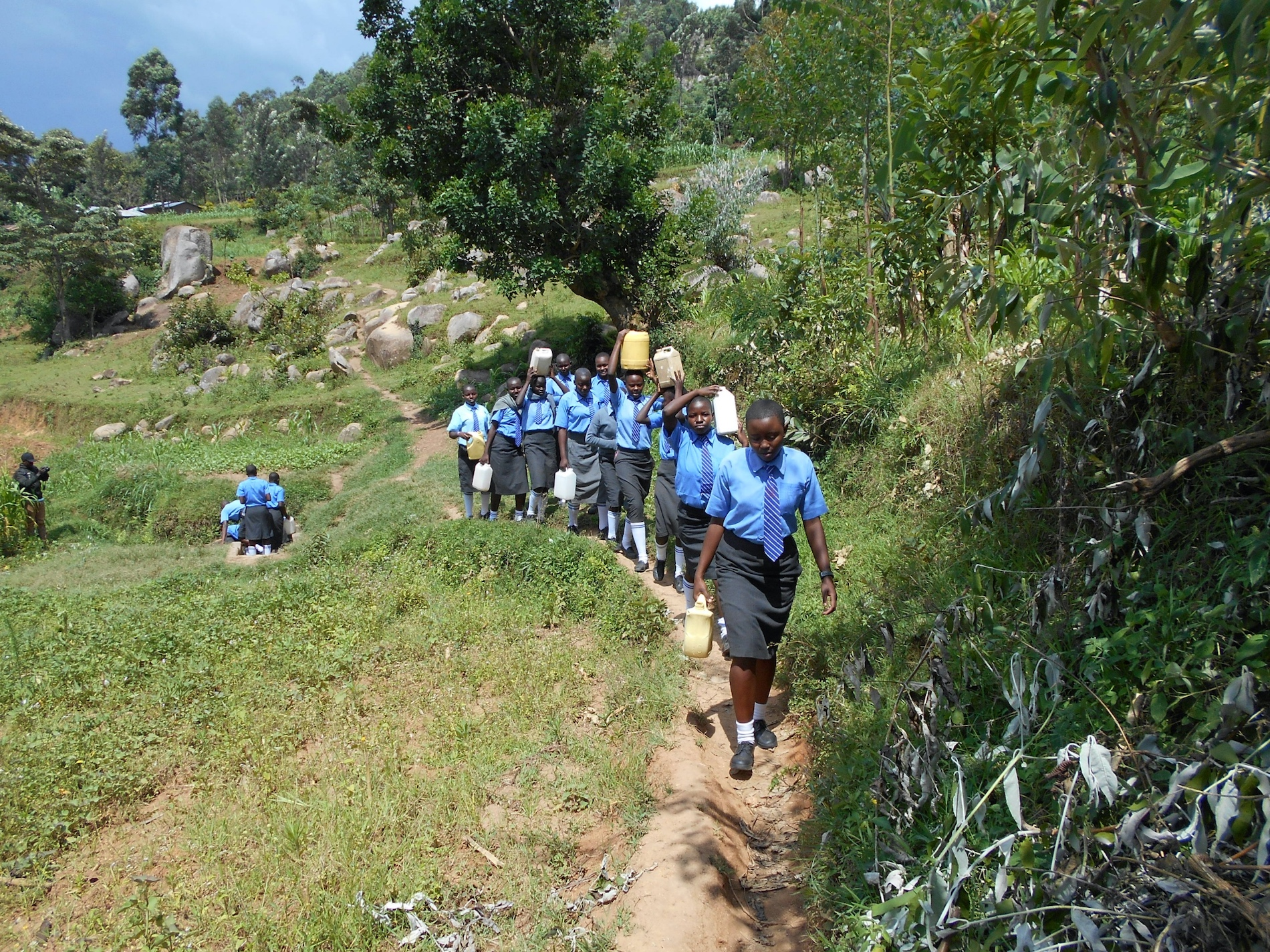The Water Project : 27-kenya20116-students-carrying-water-3