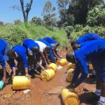 The Water Project: St. Teresa's Isanjiro Girls Secondary School -  Students Collecting Stream Water