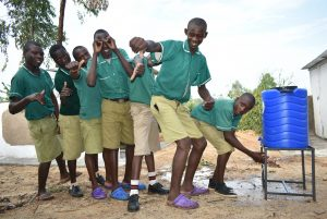 The Water Project:  Boys Lining Up To Wash Hands