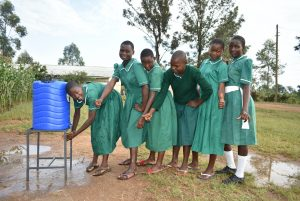 The Water Project:  Girls Lining Up To Wash Hands