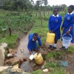 The Water Project: St. Teresa's Isanjiro Girls Secondary School -  Students Collecting Water From The Unprotected Spring