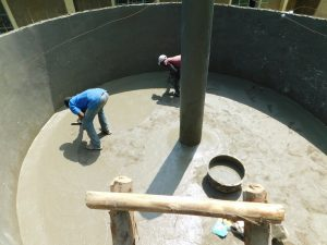 The Water Project:  Plastering Interior Of Tank