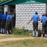 The Water Project: Malinda Secondary School -  Girls Lined Up At Their Latrines