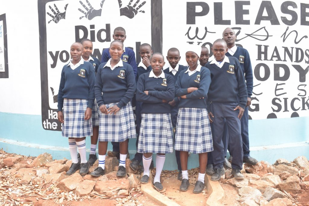 The Water Project : kenya19246-students-at-the-tank
