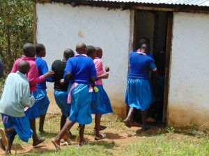 The Water Project:  Girls Rushing To Use Latrines