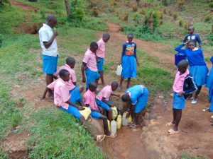 The Water Project:  Kenya Fetching Water From The Spring