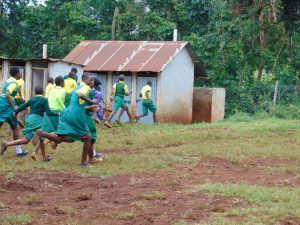 The Water Project:  Students Run To Their Latrines