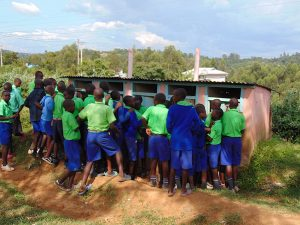 The Water Project:  Boys Queueing To Use Pit Latrines