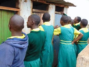 The Water Project:  Girls Lined Up At Their Latrines
