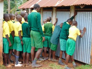 The Water Project:  Boys Lined Up At The Latrines