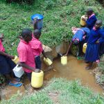 The Water Project: Jinjini Friends Primary School -  Students Fetching Water At The Spring