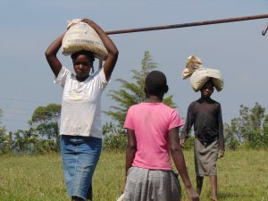 The Water Project:  Students Bringing Bags Of Cement To The Construction Site