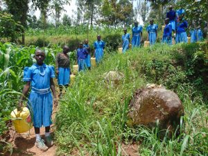 The Water Project:  Students Heading To Collect Water