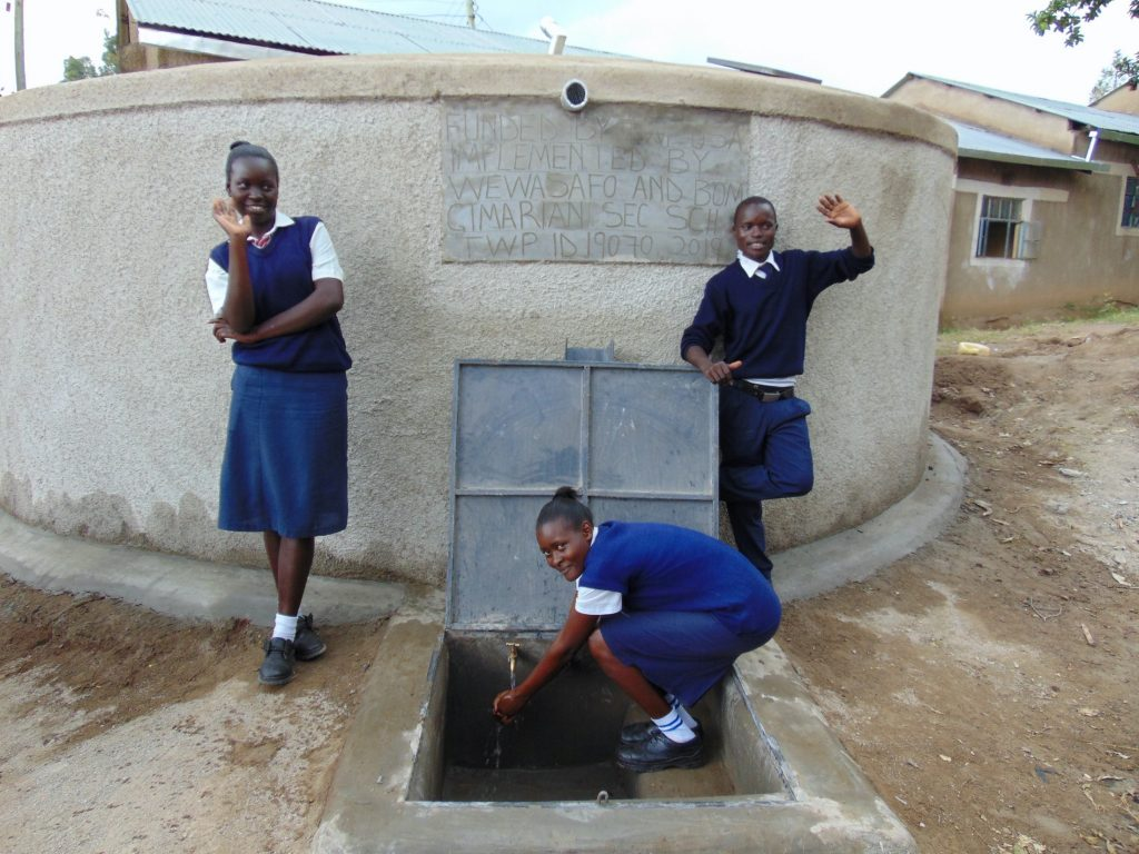 The Water Project : 35-kenya19070-students-pose-with-the-rain-tank