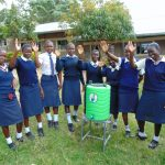 The Water Project: Gimariani Secondary School -  Girls With Handwashing Station