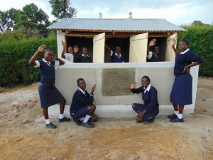 The Water Project:  Girls With Their New Latrines